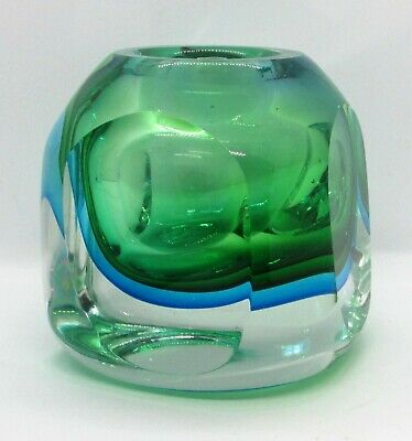 £53.12 • Buy Clear Green & Blue Ground Vase W/ Extreme Refraction
