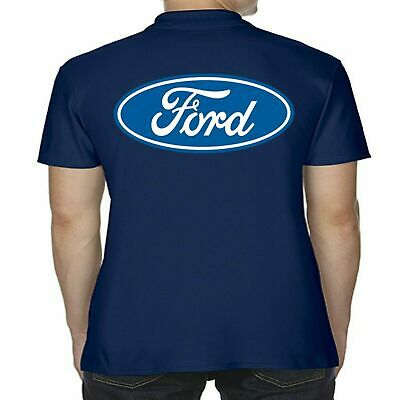 Mens Licensed Ford Polo Shirt Blue Logo Performance Modified RS ST GT Clothing • 18.99£