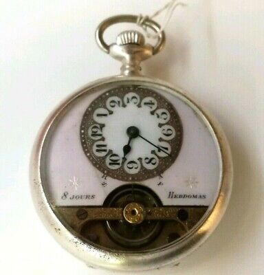 AU382.89 • Buy Antique 8 Jours Hebdomas Pink Dial Open Face Pocket Watch Swiss 8 Day