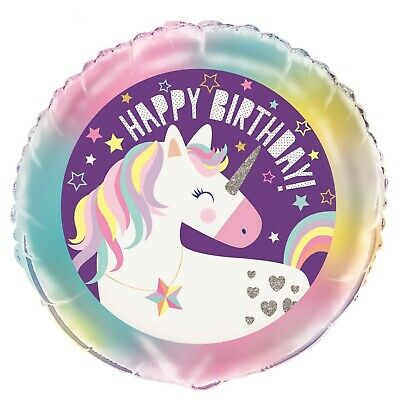 AU4.99 • Buy Happy Birthday Party Decoration Unicorn Girl Helium Air Foil Balloon Rainbow