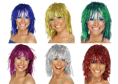 AU4.75 • Buy Tinsel Metallic Wig 70s 50s 20s Costume Mens Womens Unisex Disco Fancy Dress Up