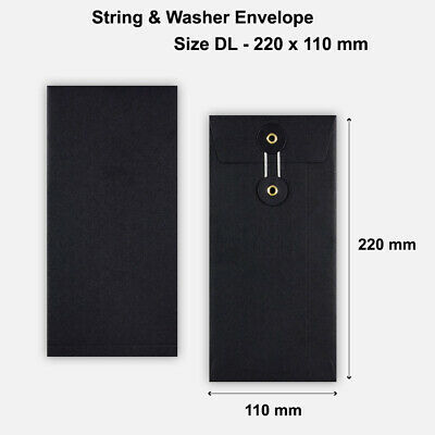 DL Size Quality String And Washer Envelopes Button-Tie Black Mailer Cheap • 5.24£