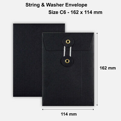 £5.49 • Buy C6 Size Quality String&Washer Without Gusset Envelope Button Tie Black Color