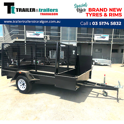 AU3900 • Buy 7x5 SINGLE AXLE LANDSCAPE GARDENING TRAILER CHECKERPLATE HIGH CAGE | TRARALGON