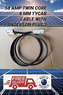 AU24.99 • Buy 50cm  8MM 8B&S TWIN CORE TYCAB CABLE 50 AMP ANDERSON STYLE PLUGS EXTENSION LEAD