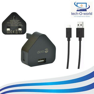 Genuine Doro Mains Wall Charger + Micro Usb Cable 8030 611 612 632 622 409 410 • 5.49£