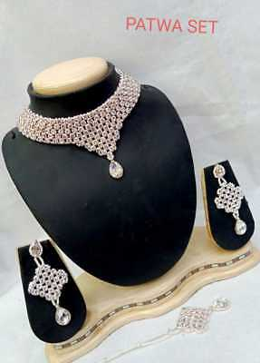 Ethnic Fashion Indian Bollywood Jewelry Rose Gold Plated Bridal Necklace Set • 15.99$