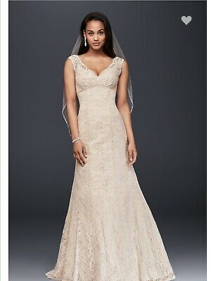 340166dcdad1 NEW Davids Bridal T9612 Beaded Lace Wedding Gown, Ivory/champagne, Women's  Sz 14