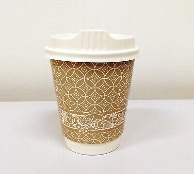 AU16.99 • Buy 50sets Disposable Premium Coffee Cups 8oz Paper Double Wall - Free Postage