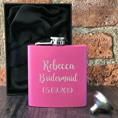 £10.99 • Buy Personalised Engraved 6oz Pink Hip Flask Female Wedding Gift Box Tokens Presents