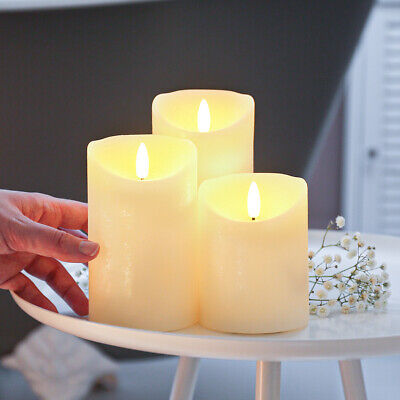 £9.99 • Buy Authentic Flame Battery Power Ivory Flickering LED Pillar Candle Lights