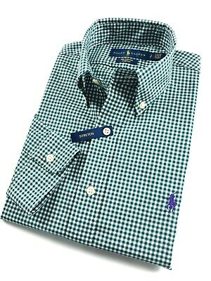 Ralph Lauren Shirt Men's Ever Green Gingham Check Standard Fit Cotton Stretch • 44.99£