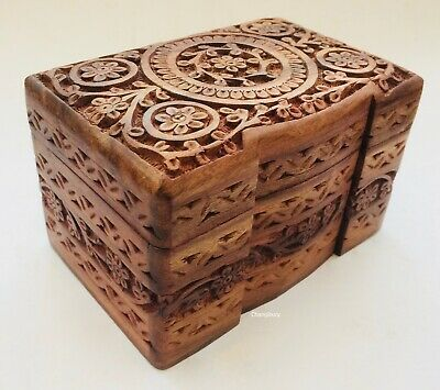 Hand Carved Wooden Floral Jewellery Storage Organiser Box Case Chest Holder • 19.99£