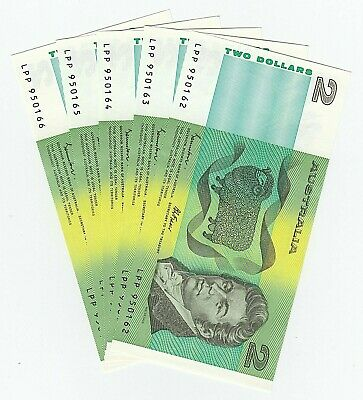 AU39.95 • Buy AUSTRALIA Two Dollar $2 Notes X 5 (UNC) CONSECUTIVE Serial Numbers - 1985 R89