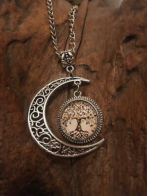 Tibetan Silver Crescent Moon And Hanging Tree Of Life Pagan Pendant Necklace • 3.99£