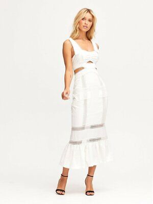 AU350 • Buy Alice McCALL Foreign Affair Midi Dress In Porcelain |Size 12| RRP $475 Brand New