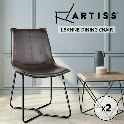 AU127.50 • Buy Artiss 2x Retro Vintage Eames Chair Dining Chairs Rustic DSW Leather Walnut