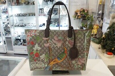 AU1999 • Buy GUCCI GG Supreme Floral Bird Tian Print Maple Brown Tote Bag-Excellent!