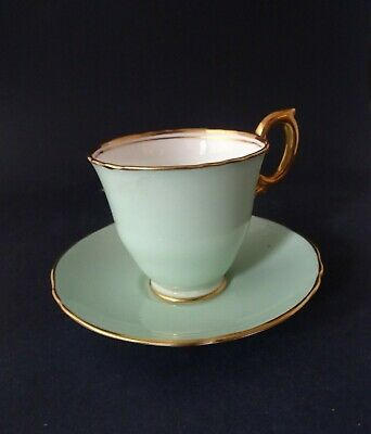 Crown Staffordshire Bone China Coffee Cup & Saucer: Pale Green & Gold Band • 7.99£