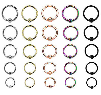Ball Closure Ring Captive Bead Ring BCR Lip Nose Ear Septum Tragus Piercing CBR • 1.50£