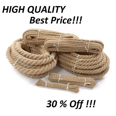 6mm To 60mm Natural Jute Rope Twisted Decking Cord Garden Boating Sash Camping • 7.24£