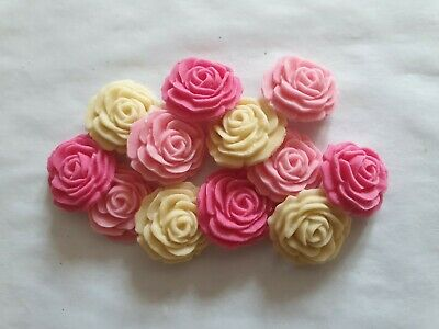12 Mixed Colour Roses - Edible Sugar Wedding Cake Decorations / Toppers • 2.95£