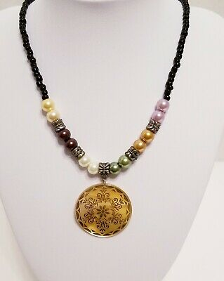 £14.48 • Buy Necklace With Laser Cut Shell Pendant And Colorful Beads
