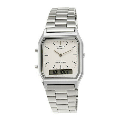 AU29.95 • Buy Casio AQ230A-7D Dual Time Vintage Retro Digital Watch Stainless Steel Silver
