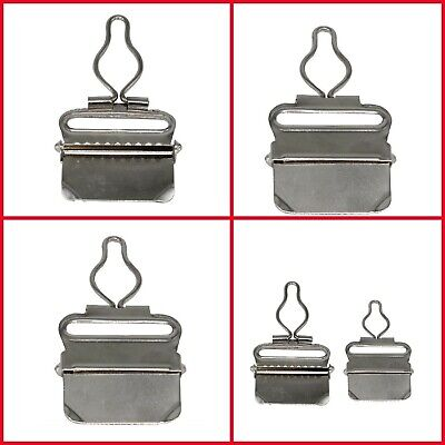 £2.69 • Buy 38mm Metal Clips Dungaree Buckles For Suspender Brace Garment Silver 2pcs