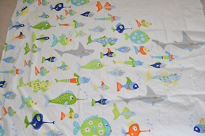 Pottery Barn Kids Shower Curtain Fish School Shark Multi Color 74x69 O 1600