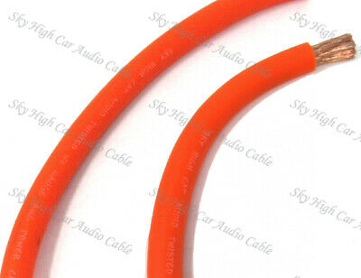 AU61.55 • Buy 20 Ft 1/0 Gauge Oversized AWG ORANGE Power Ground Wire Sky High Car Audio Cable