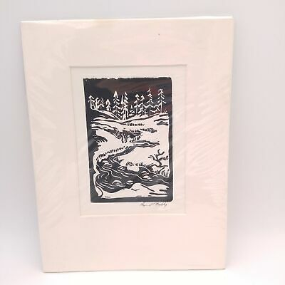 $ CDN60.72 • Buy Vintage Linocut Print River From The Pines By Raymond Naddy -  Matted 4x6