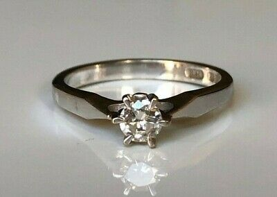 AU478 • Buy 18k Solid Gold & 0.25CT Diamond Solitaire Ring 2.97g Size L - 5 1/2
