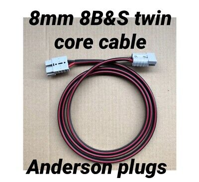 AU34.50 • Buy 2 Meter Of 8mm 8b&s Twin Core Tycab Cable Extension Lead Anderson Style Plugs