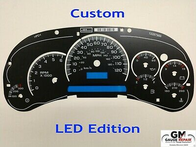 $45 • Buy LED Edition Custom Gauge Face Overlay For 2003 04 05 GM Instrument Clusters New