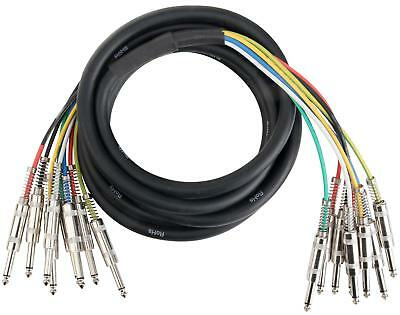 Jack Multicore Cable Loom Stage Snake Audio TRS 6.3mm Jack 8-Channels 3m DJ PA • 25.99£