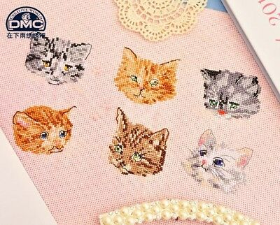 Cute Kitty Heads Cats Kittens Finished Cross Stitch Pieces Home Decor  • 25.32£