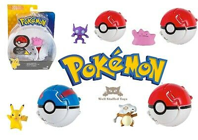 Pokemon Throw N Pop Poke Ball Sableye Ditto Cubone Pikachu Action Figure Toy • 9.75£