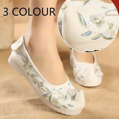 £16.84 • Buy Women Chinese Embroidered Floral Linen Shoes Ballerina Loafer Flat Pump Cozy New