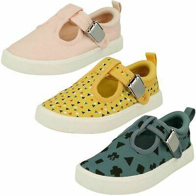 Girls Boys Clarks City Spark Infant Clasp Cruiser First Canvas Summer Shoes Size • 22£