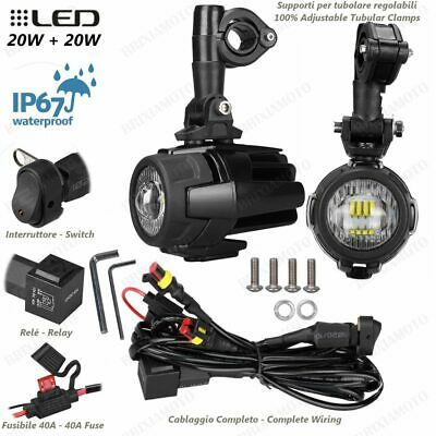 Pair Led Auxiliary Projectors Lights And Switch Yamaha 850 Mt09 Tracer 2015-201 • 83£