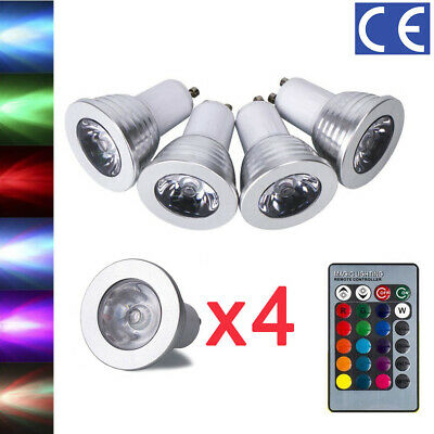 12Pcs GU10 4W 16 Color Changing RGB Dimmable LED Spot Light Bulbs Lamp RC Remote • 10.98£