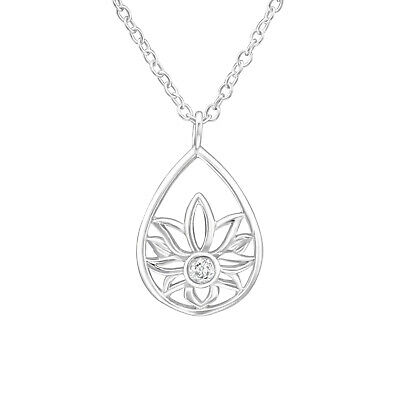 $ CDN18.78 • Buy 925 Sterling Silver Lotus Flower Teardrop Crystal CZ Charm Pendant Necklace