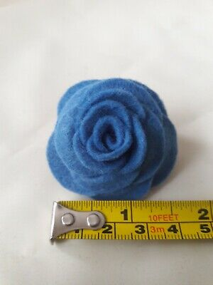 Small Felt Rose Brooch/lapel Pin In Mid Blue. Lots Of Other Colours Available  • 1.99£