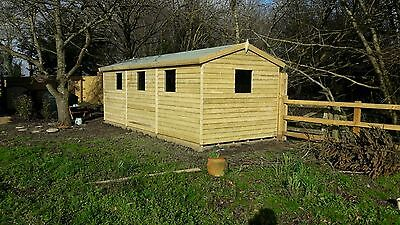 20' X 8' Tanalised 19mm T&g Shiplap Heavy Duty Shed Apex Roof/double Doors • 1,770£