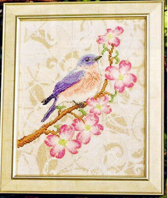 Handmade DMC Linen Finished Cross Stitch Flowers And Birds In Spring Home Decor • 39.38£
