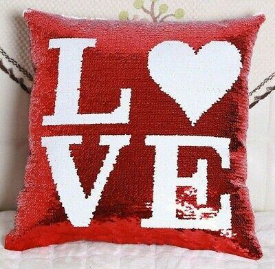 Red Heart Love Cushion Cover Pillow Mermaid Reversible Sequins Glitter Sofa UK • 4.98£
