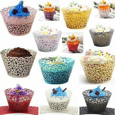 £4.09 • Buy 25/50/100 Filigree Vine Lace Cupcake Wrappers Muffin Cases Wedding Birthday Cake