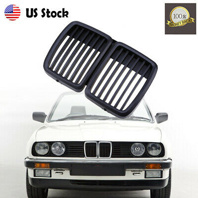 $43.99 • Buy Matte Black Grilles Front Radiator Grill Kidney Hood For BMW 3-Series E30 82-93