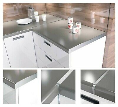 Aluminium Kitchen Worktop Joining Strips End Straight Corner Joint Silver 600 Mm • 3.99£